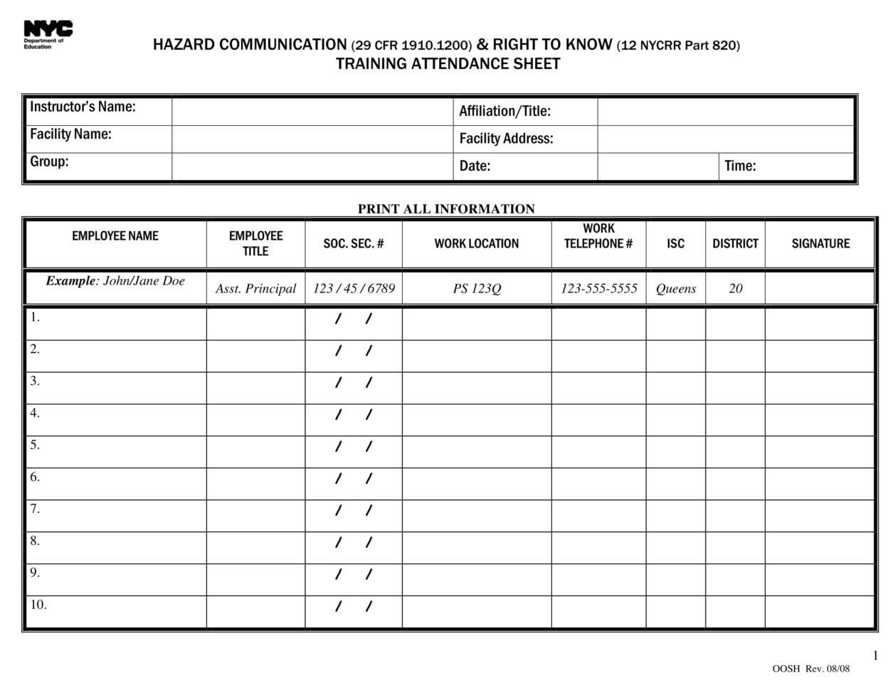 Attendance Spreadsheet With 10 Printable Attendance Sheet