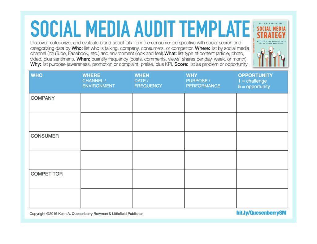 Audit Spreadsheet Templates Throughout Sample Social Media