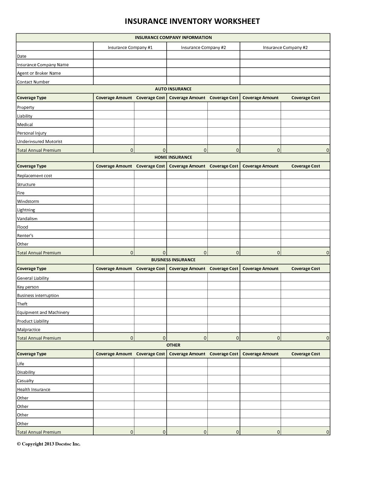 Auto Insurance Comparison Spreadsheet Db Excel