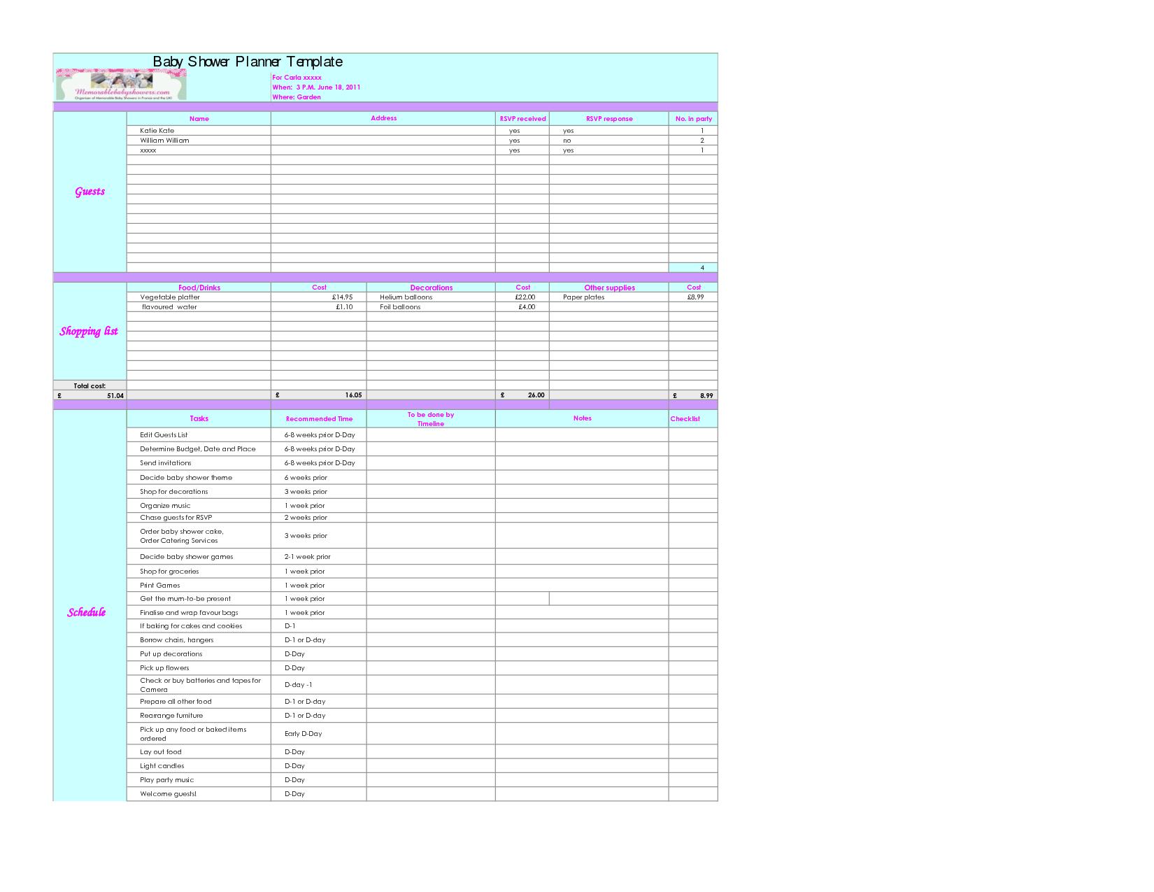Baby Excel Spreadsheet Printable Spreadshee Baby Shower