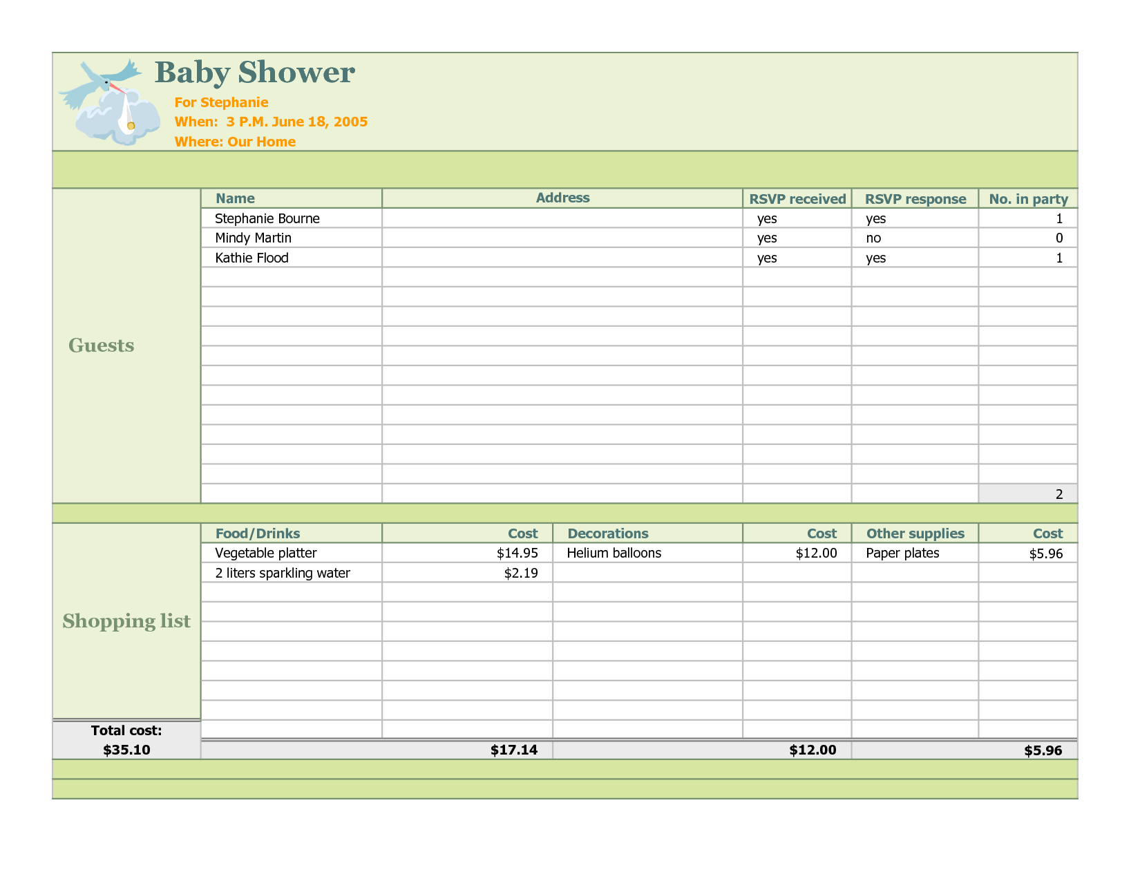Baby Excel Spreadsheet Printable Spreadshee Baby Shower Excel Spreadsheet Baby Excel