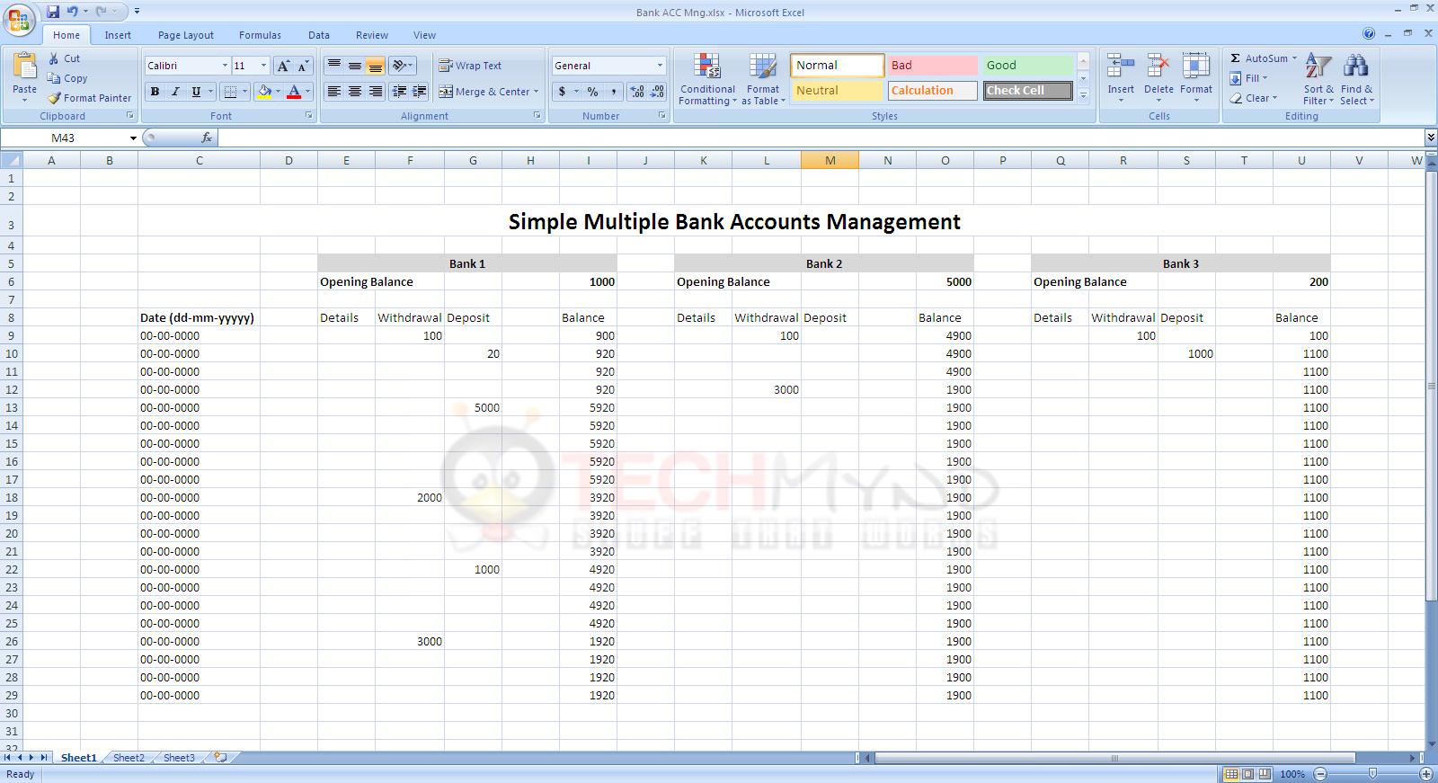 Bank Account Spreadsheet Template Spreadsheet Downloa