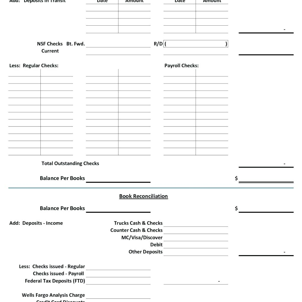 31 Checking Account Reconciliation Worksheet