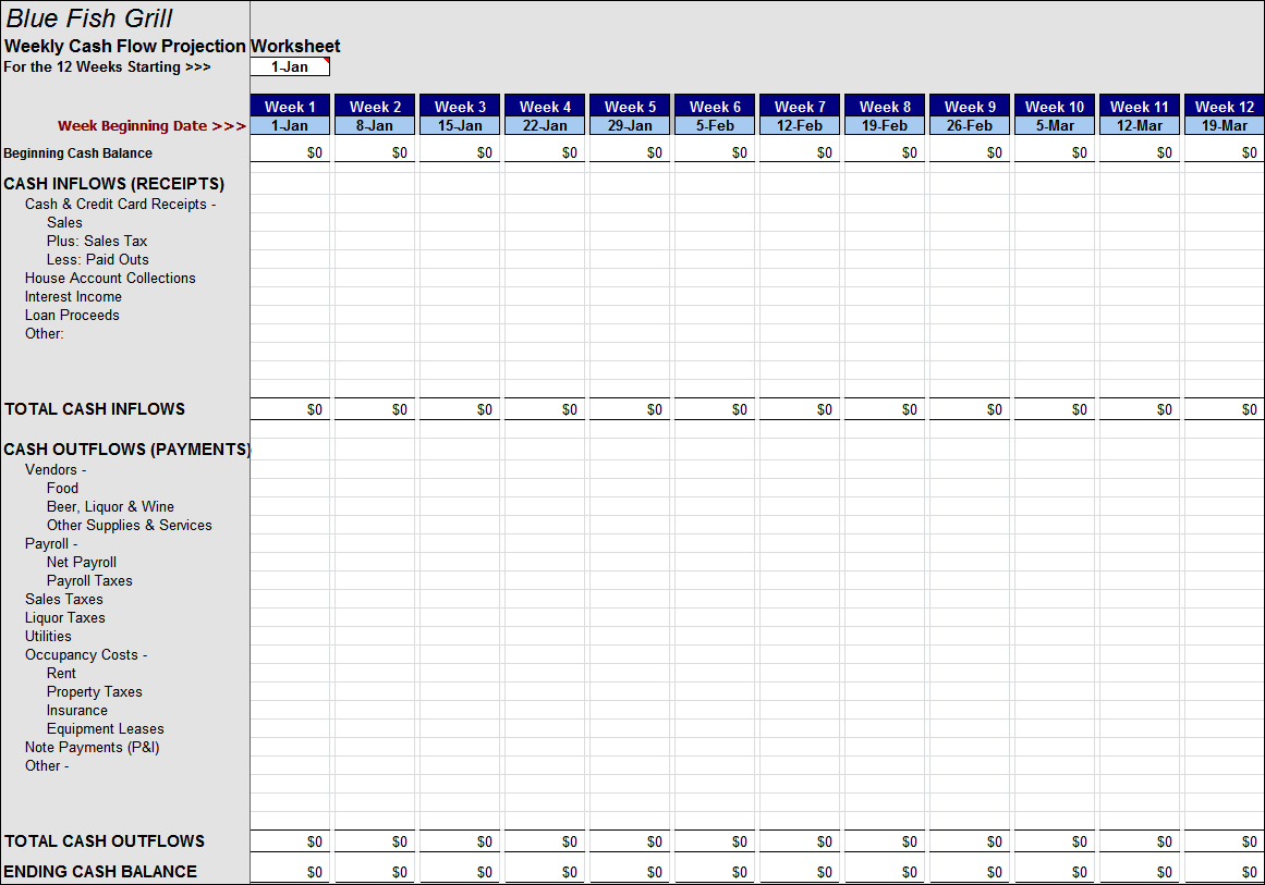 Basic Cash Flow Spreadsheet With Weekly Cash Flow