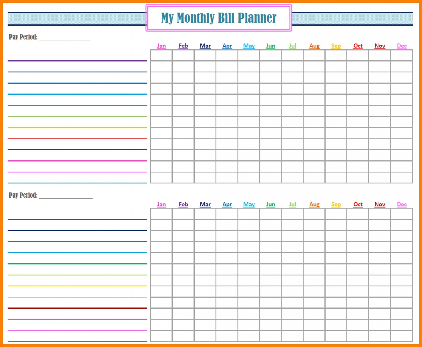Bill Budget Spreadsheet Intended For 009 Excel Monthly