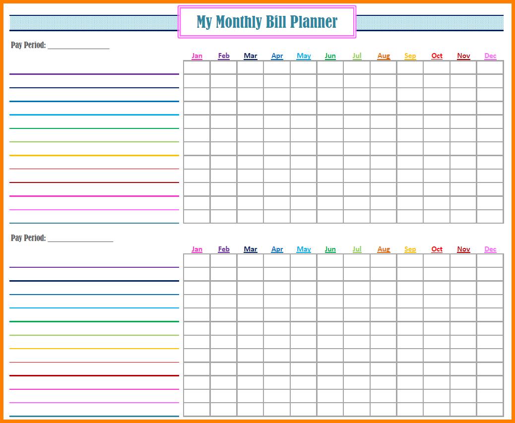 Bill Pay Organizer Spreadsheet
