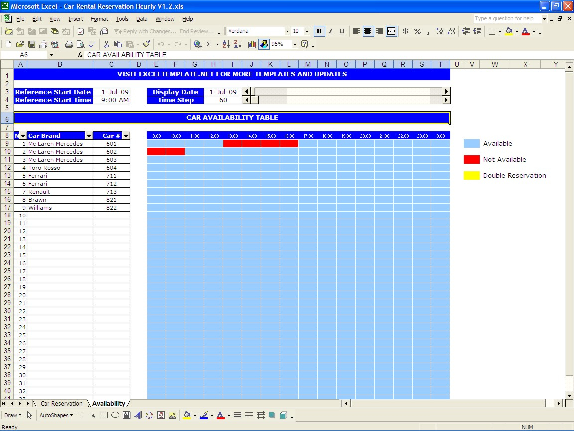 Booking Spreadsheet Template In Car Rental Reservations