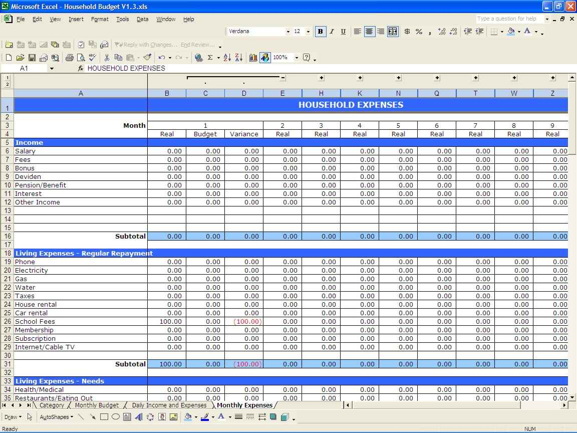 Budget Spreadsheet Examples Intended For Example Ofthly
