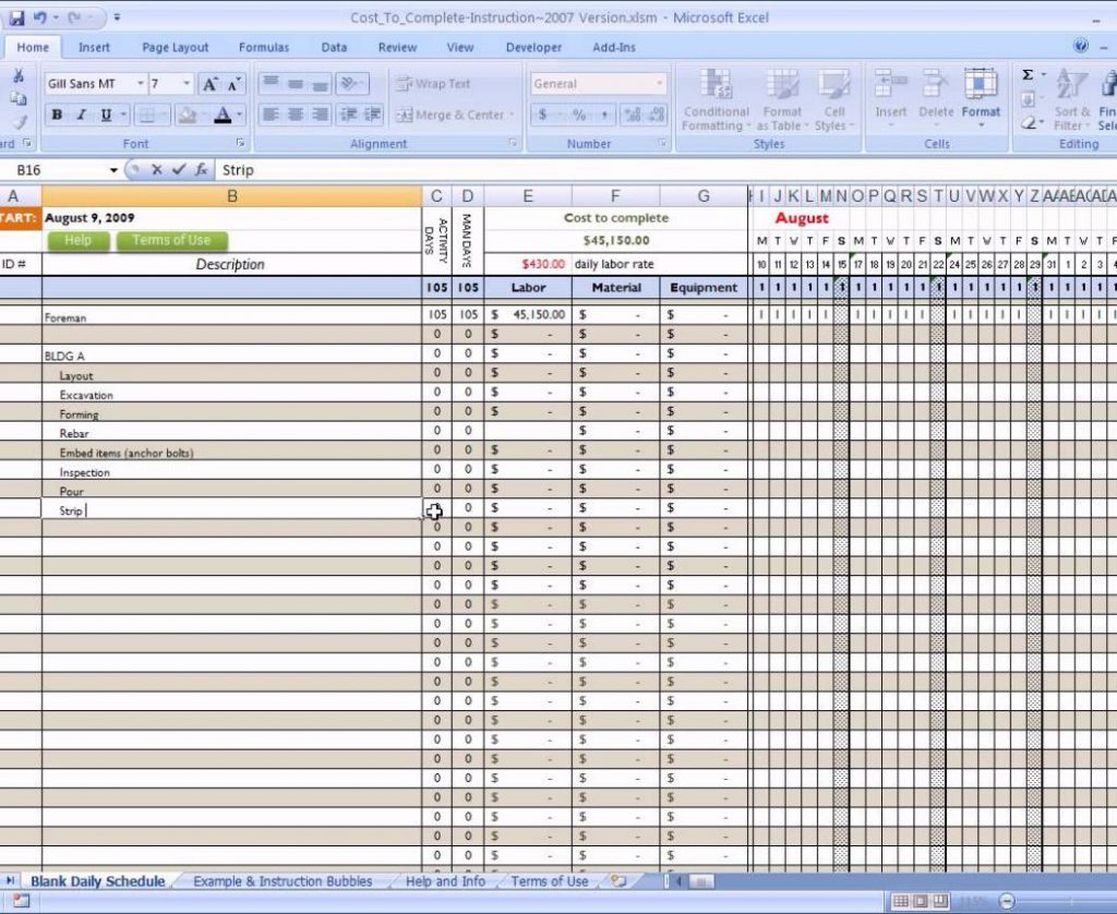 Building Expenses Spreadsheet With Construction Costt