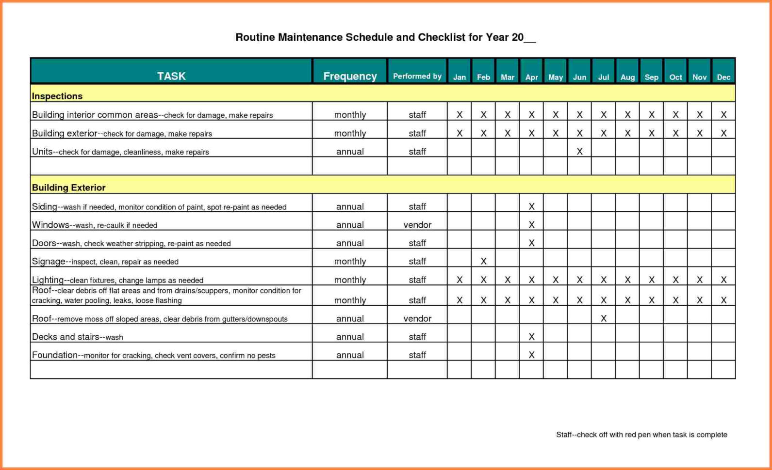 Building Maintenance Costs Spreadsheet