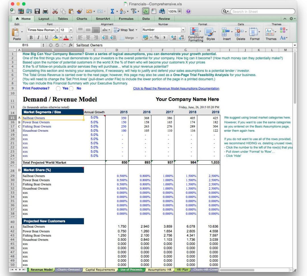 Business Projection Spreadsheet Spreadsheet Downloa