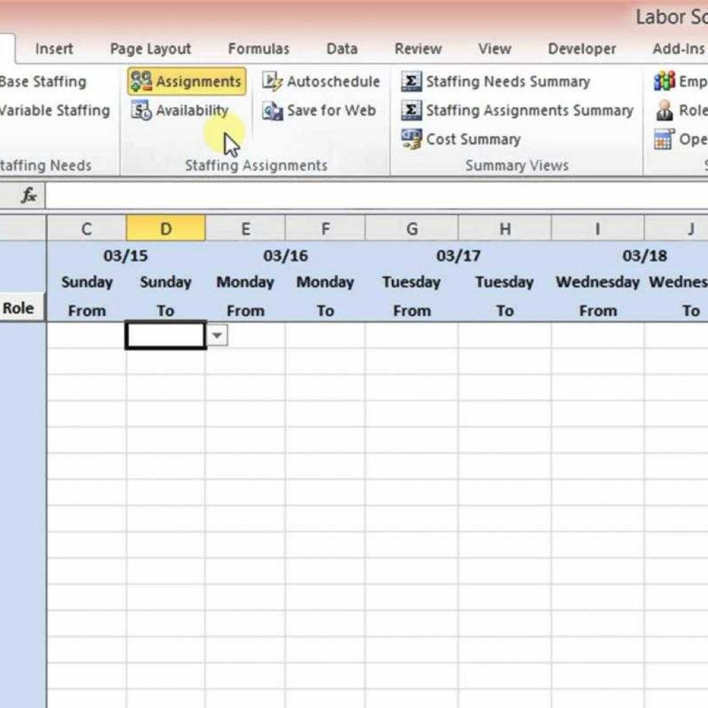Call Center Shift Scheduling Excel Spreadsheet