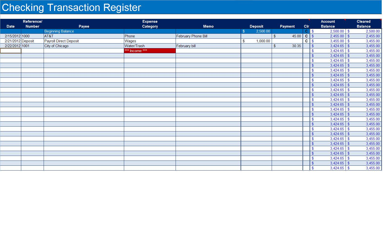 Checking Account Spreadsheet Template Db Excel