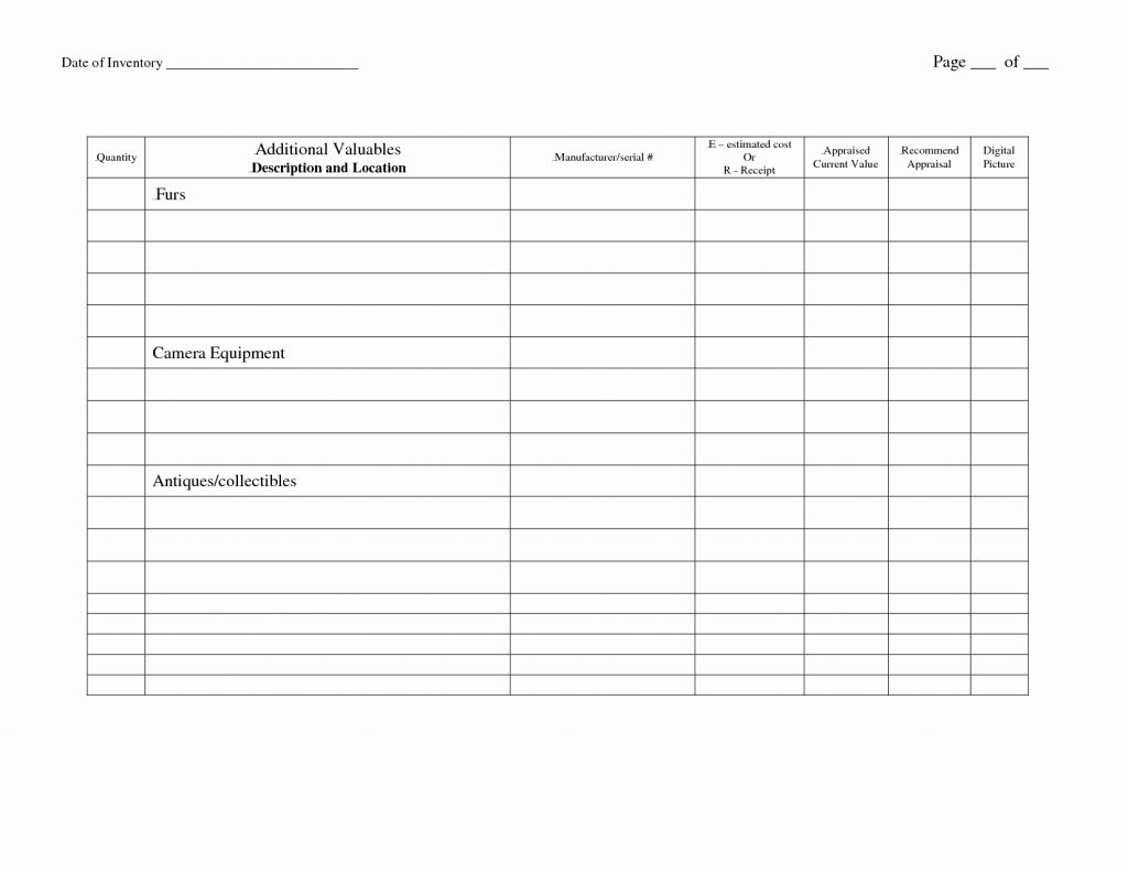 Collectibles Inventory Spreadsheet Db Excel