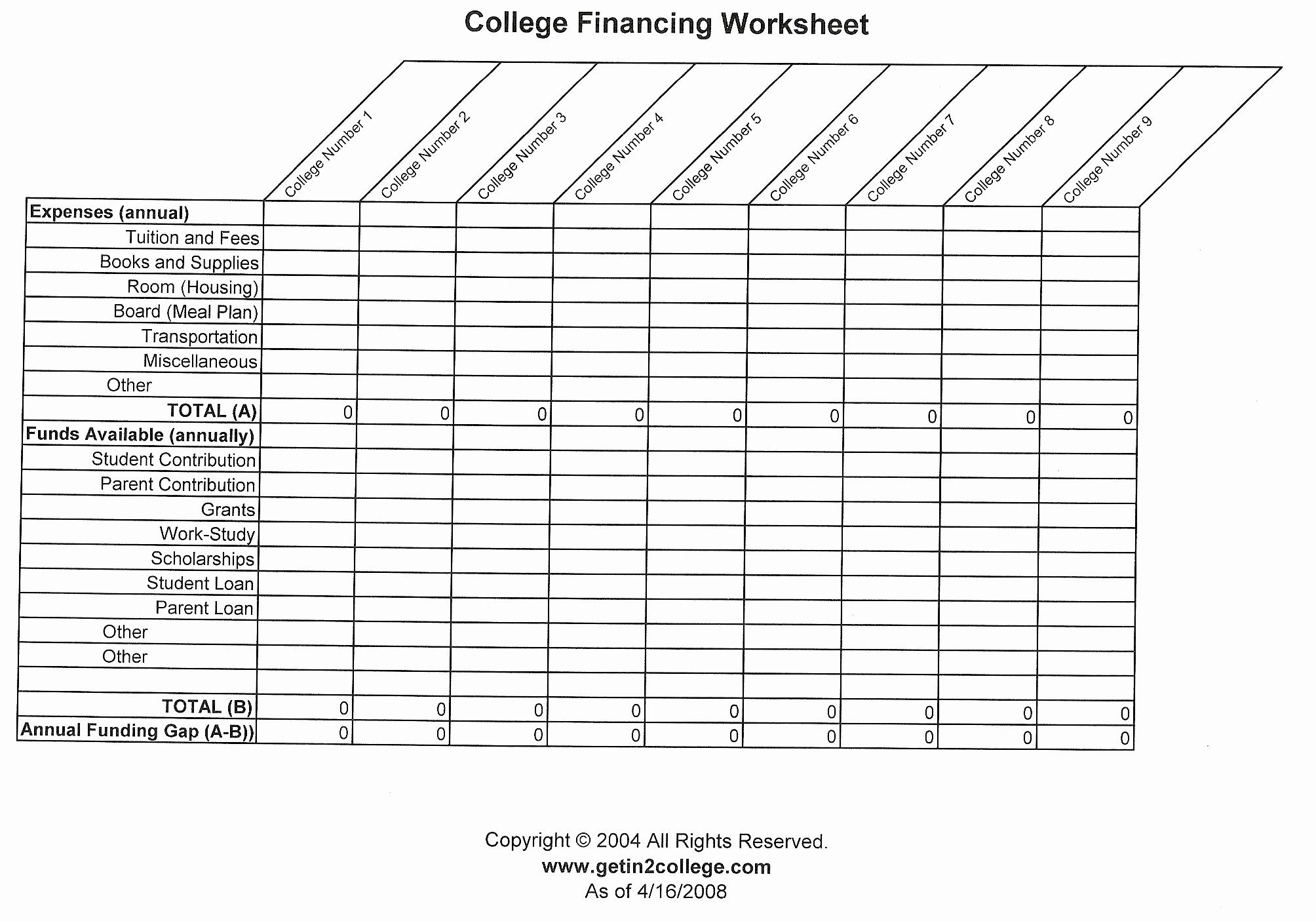 33 College Comparison Worksheet Spreadsheet