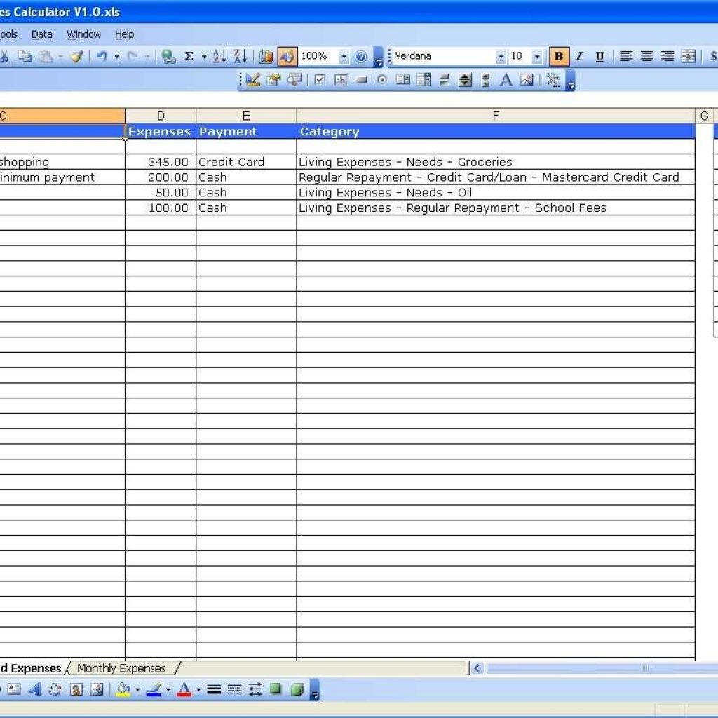 Contractor Expenses Spreadsheet Template In Income And