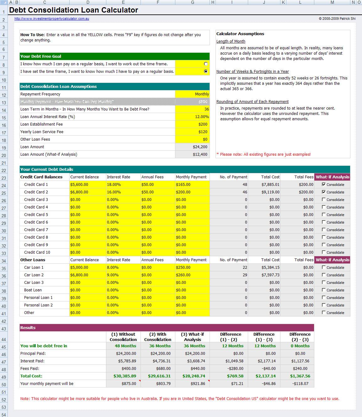 Credit Card Repayment Calculator Spreadsheet For Loan