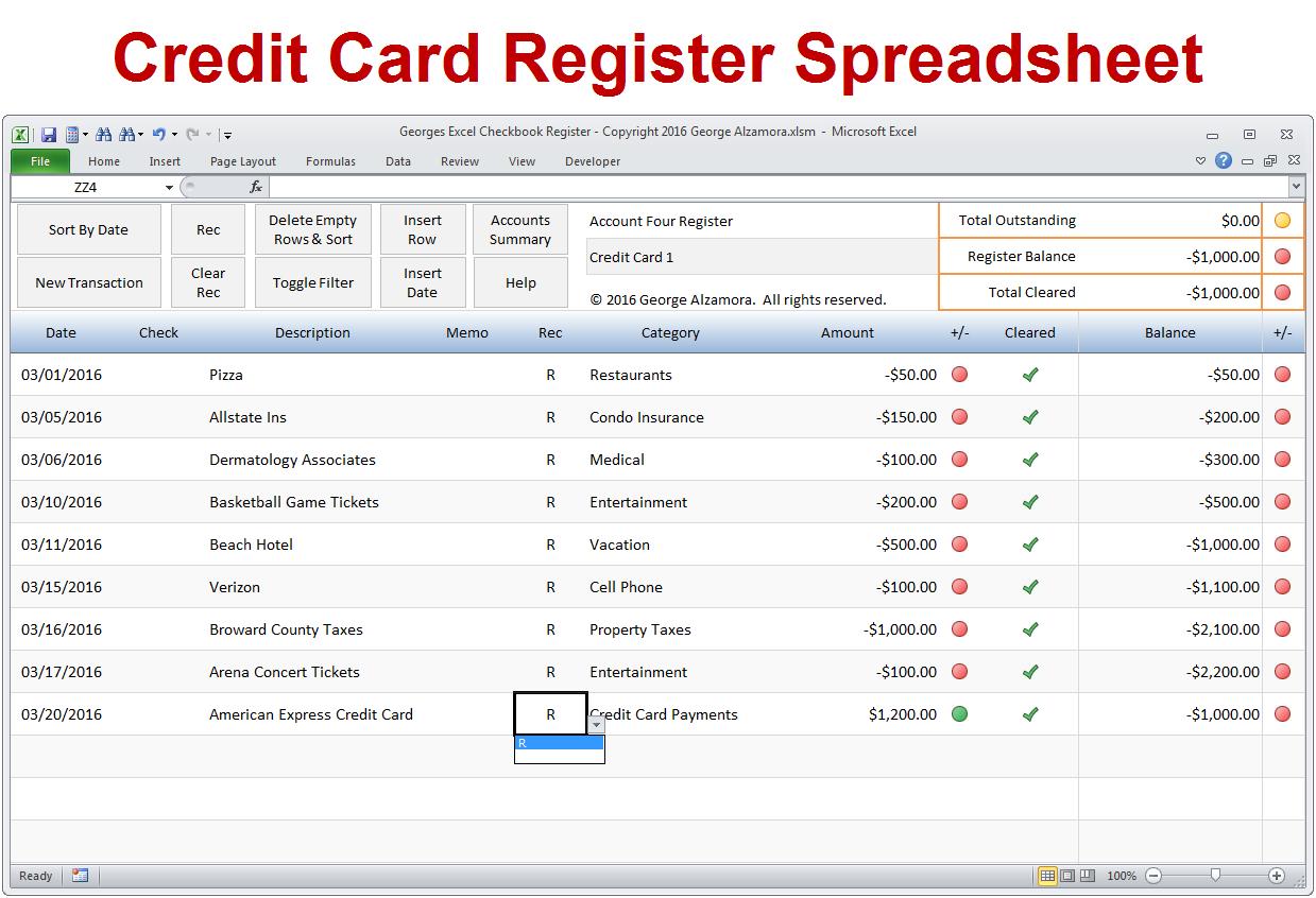 Credit Card Tracking Spreadsheet Template Regarding