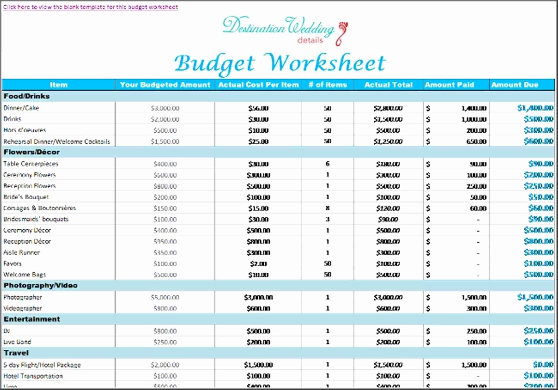 Destination Wedding Budget Spreadsheet Pertaining To