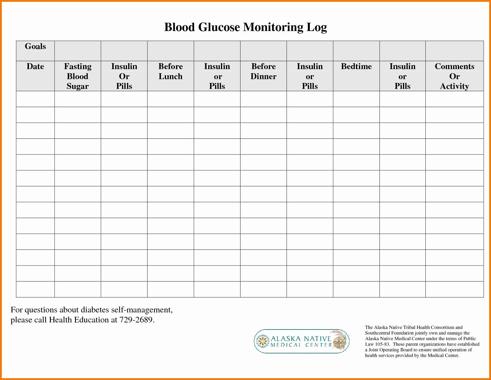 Diabetes Glucose Log Spreadsheet For Printable Blood Sugar