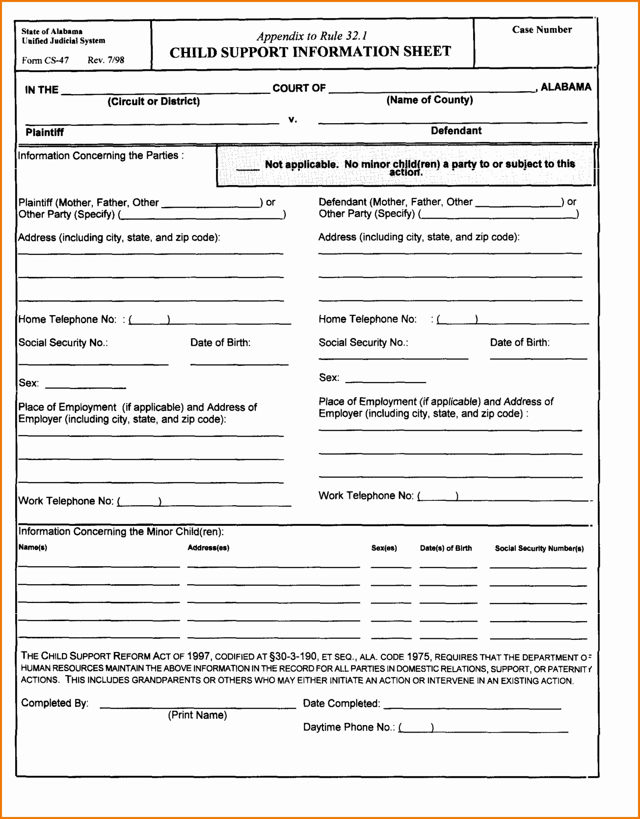 Divorce Worksheet