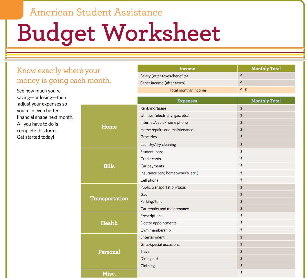 Excel Budget Worksheet Bill
