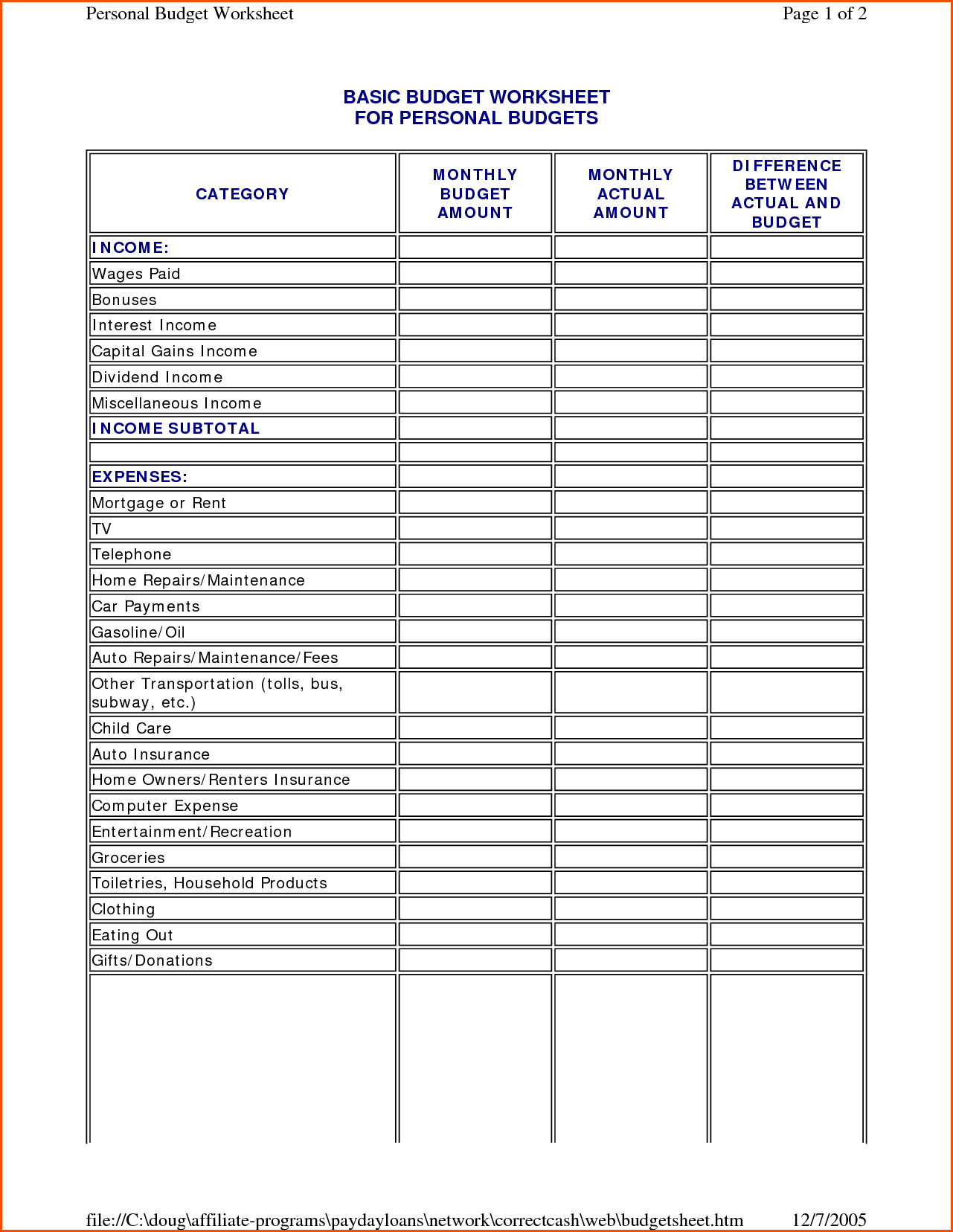 Easy To Use Budget Spreadsheet Regarding Budgets For
