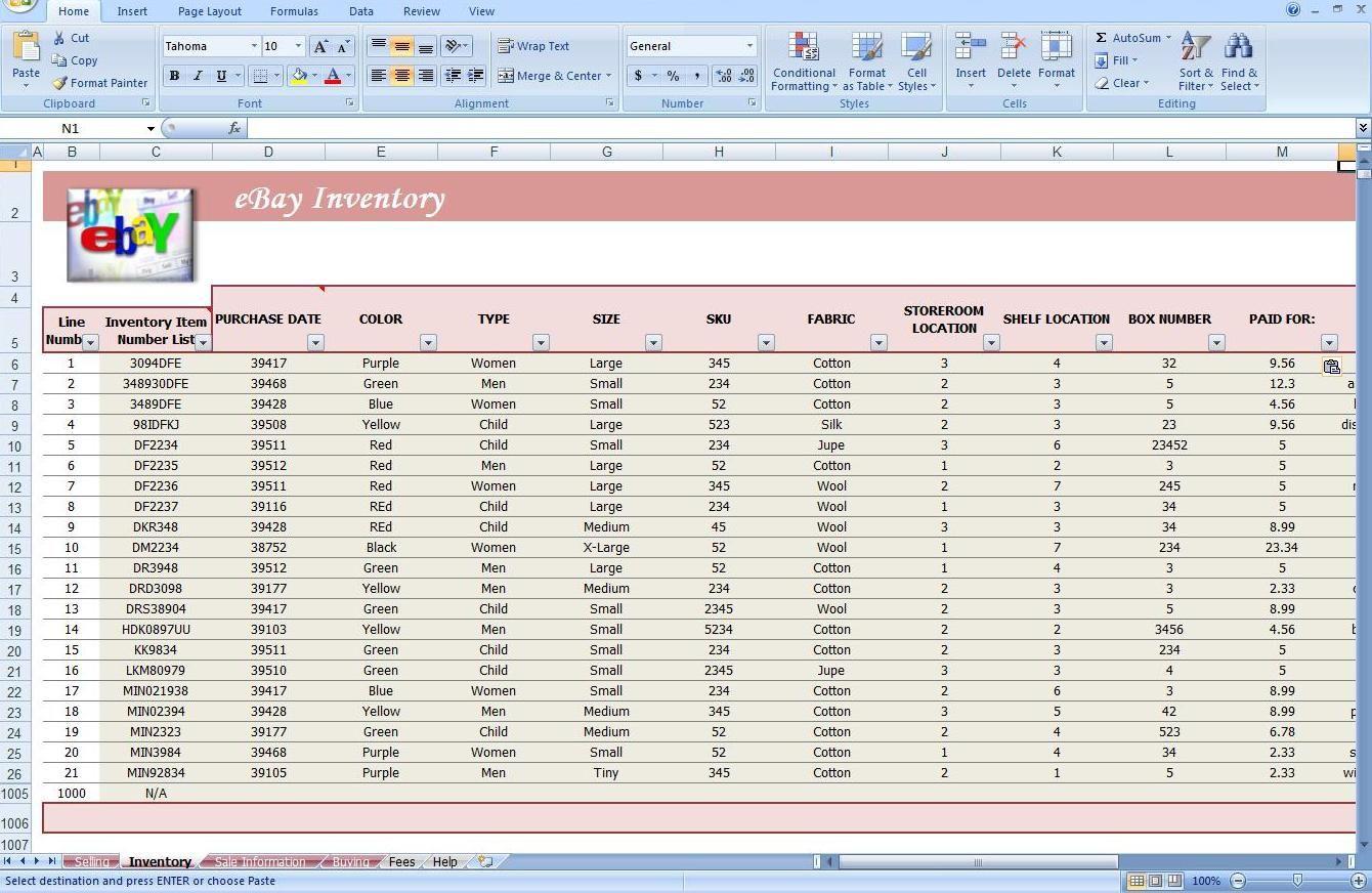 Ebay Spreadsheet Template Free Throughout Ebay Spreadsheet