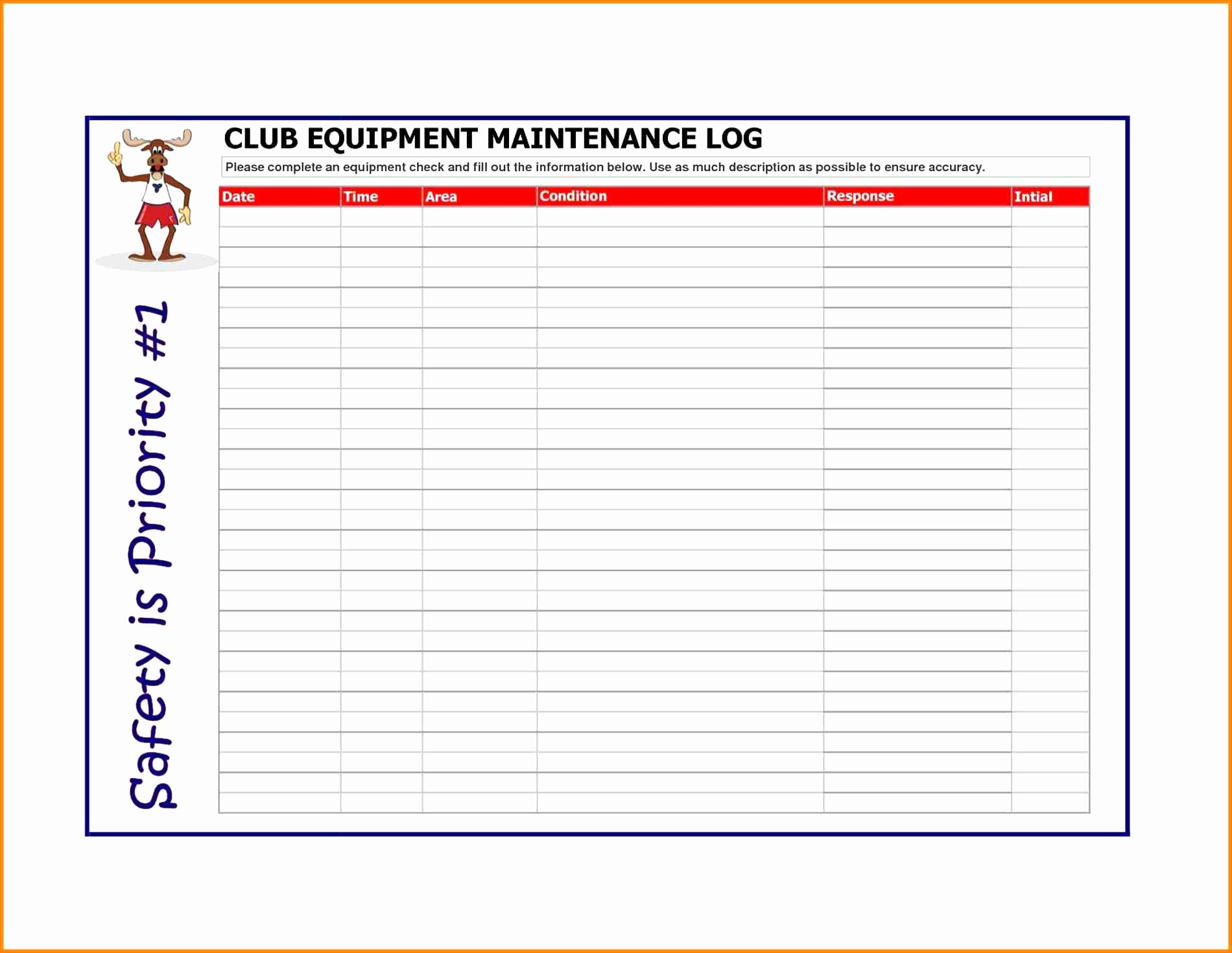 Equipment Maintenance Spreadsheet Intended For Fleet