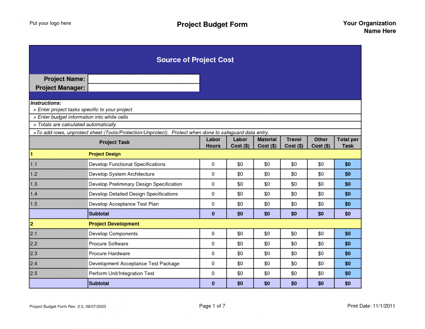 Example Of A Project Budget Spreadsheet Db Excel