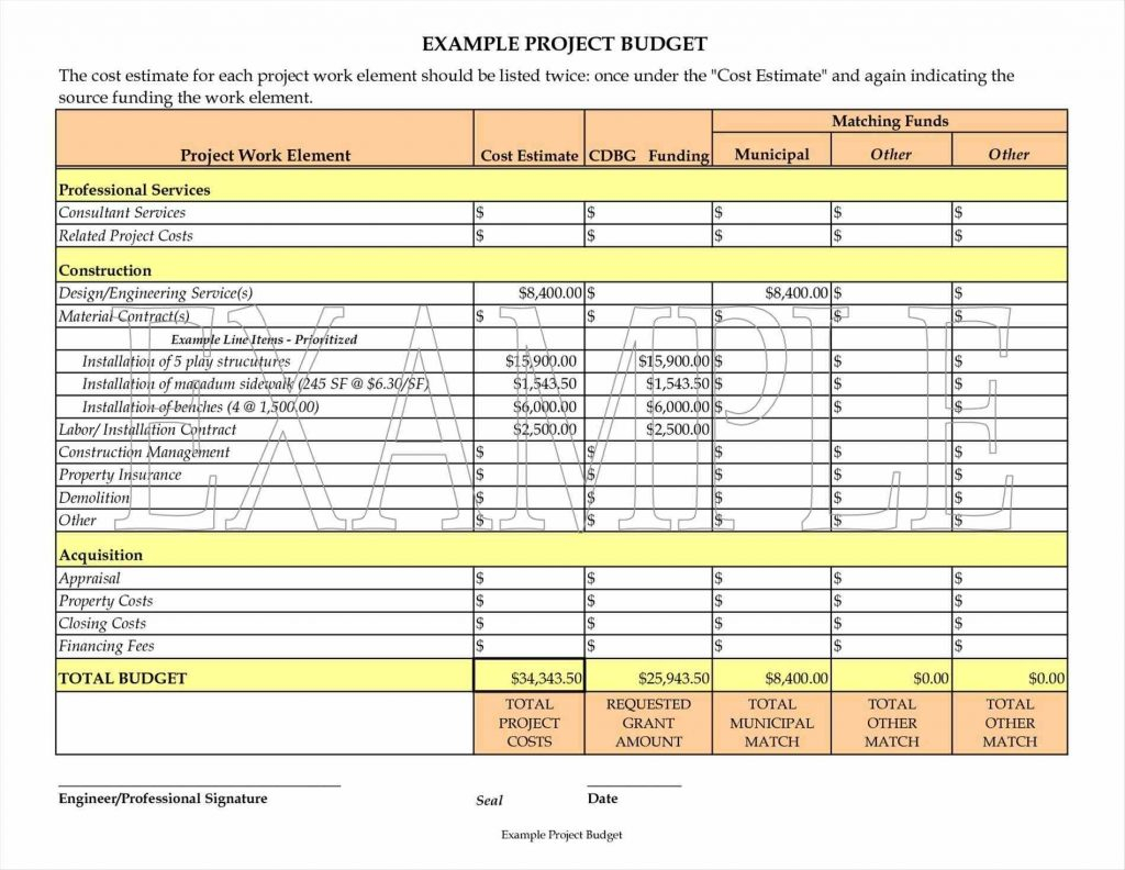 Example Of A Project Budget Spreadsheet Spreadsheet