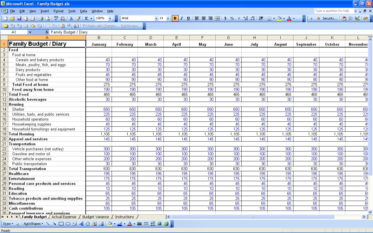 Family Budget Spreadsheet Excel