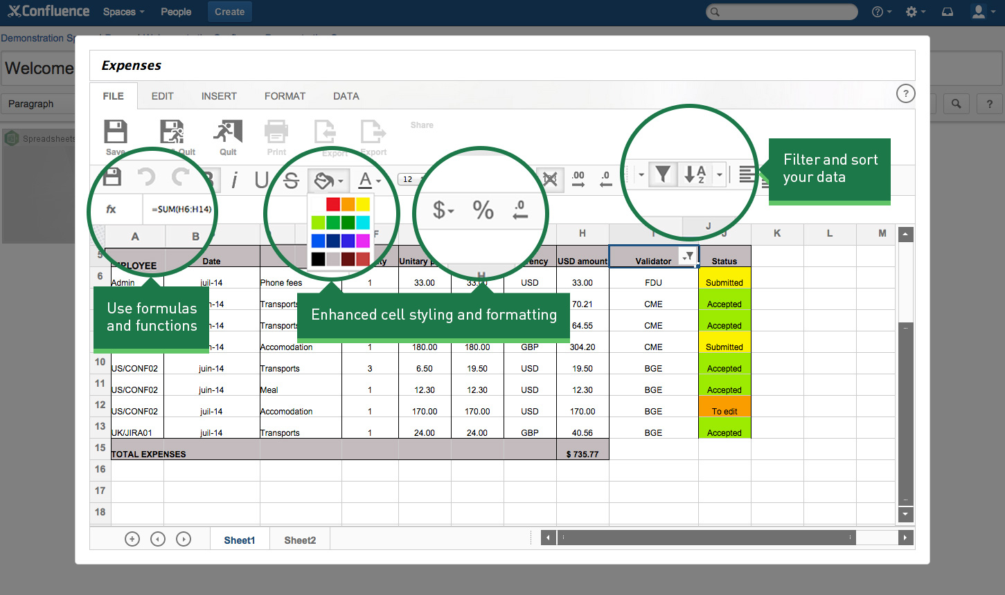 Features Of Spreadsheet Software Within Spreadsheets For