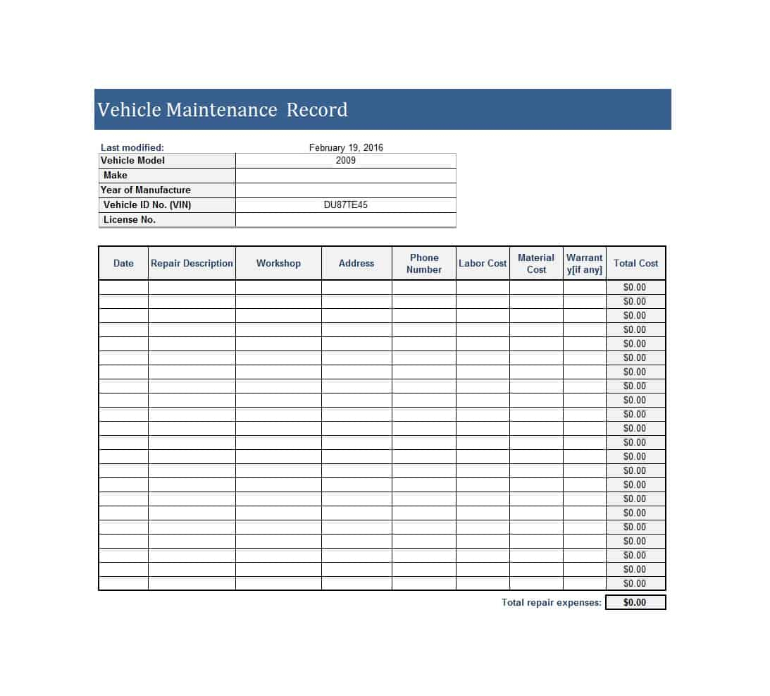 Fleet Maintenance Spreadsheet Template Pertaining To Truck