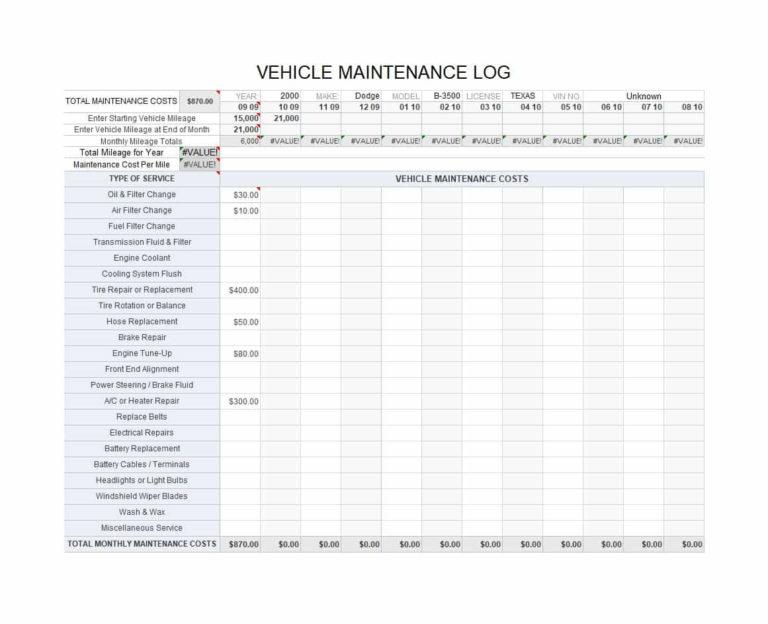 Fleet Vehicle Maintenance Spreadsheet with 40 Printable