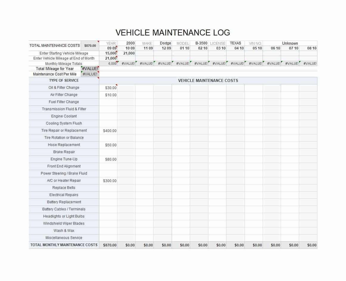Fleet Vehicle Maintenance Spreadsheet with 40 Printable