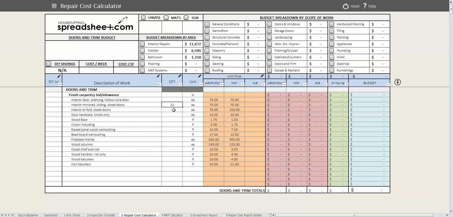 Flip Spreadsheet Excel Inside House Rehab Spreadsheet Selo