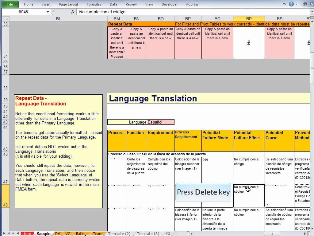 Fmea Spreadsheet In Fmea Excel Template Youtubefmea