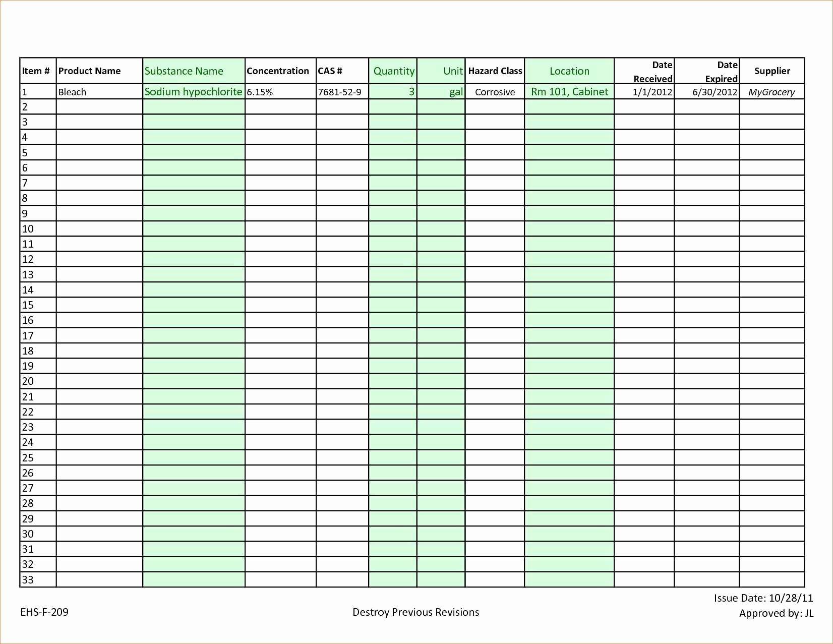 Food Storage Worksheet Free