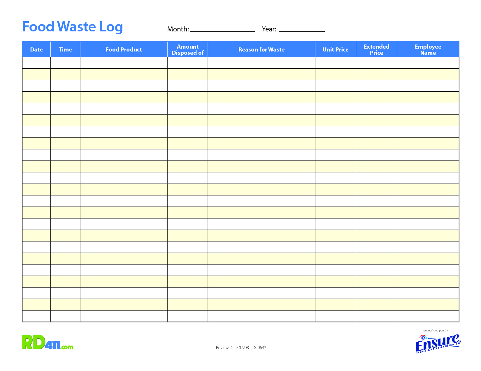 Food Waste Tracking Spreadsheet Printable Spreadshee Food