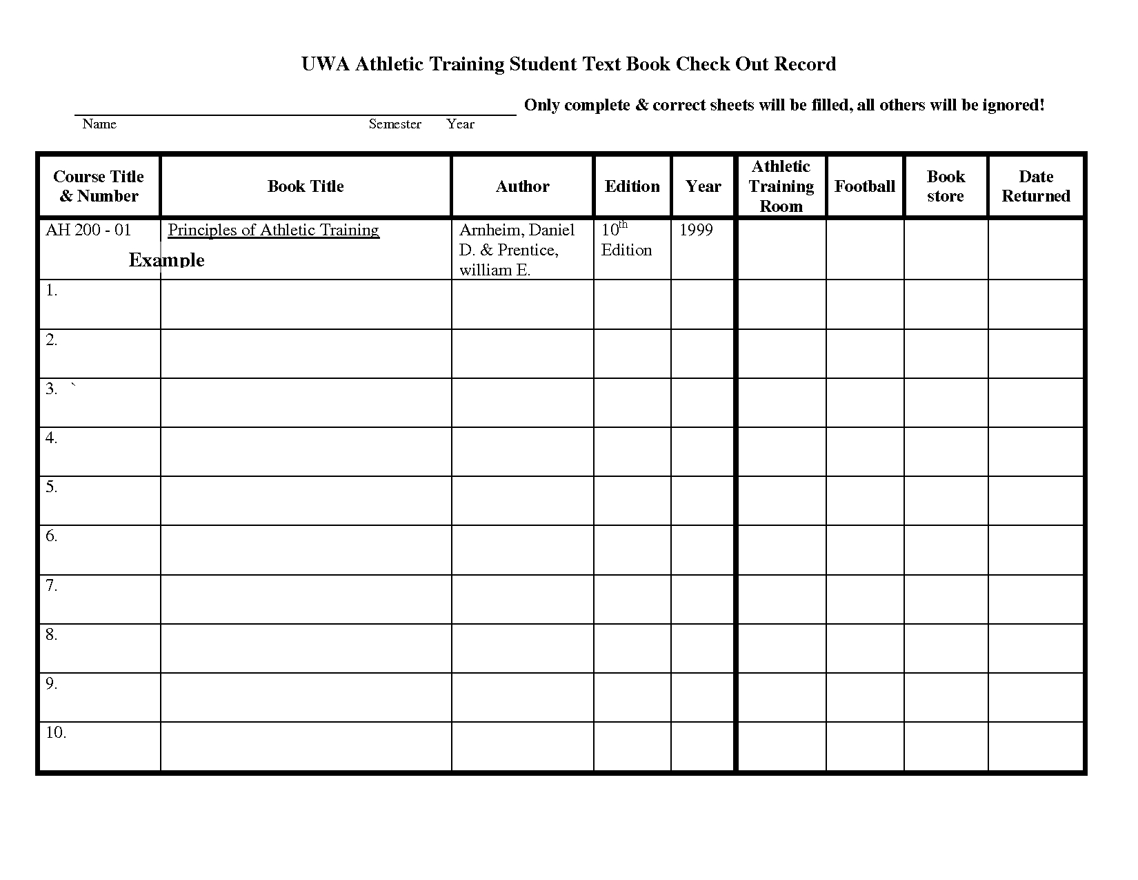 Equipment Worksheet Template