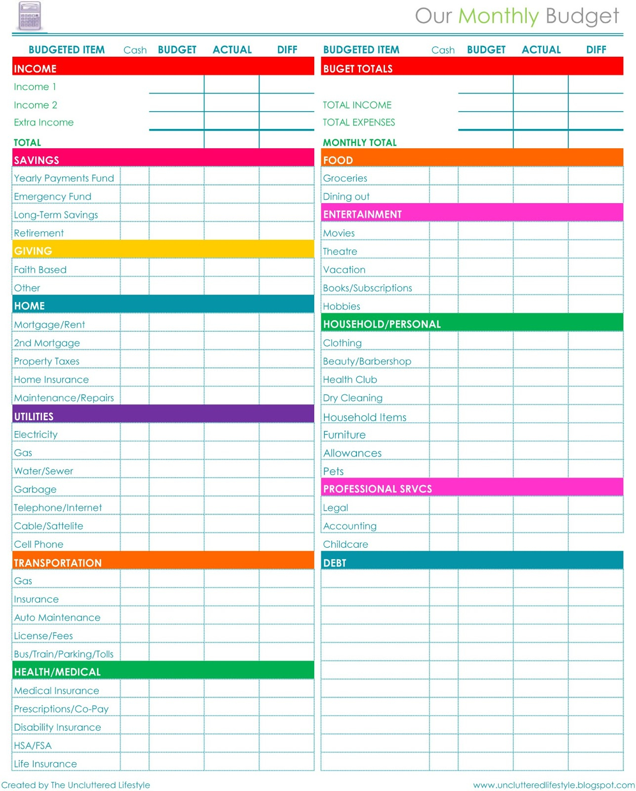Free Download Household Budget Spreadsheet Spreadsheet