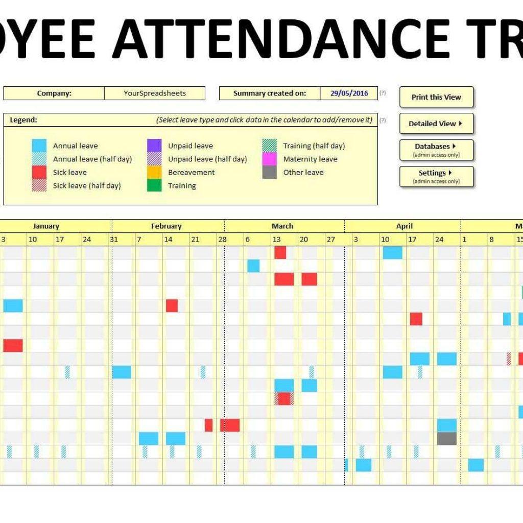 Free Employee Attendance Tracking Spreadsheet Spreadsheet Downloa Free Employee Attendance