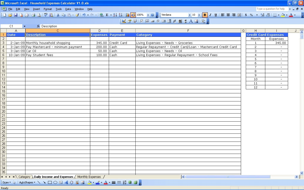 Free Income And Expense Spreadsheet For New Budget