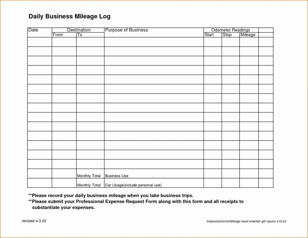 Free Mileage Log Spreadsheet With Regard To Tax Template For Expenses Printable Mileage Log