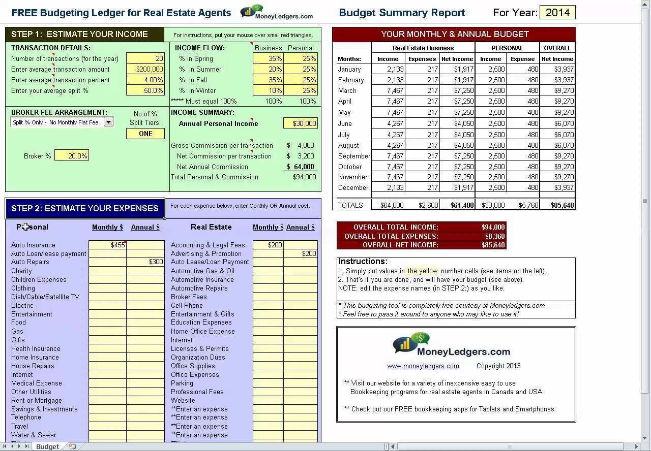 Free Real Estate Agent Expense Tracking Spreadsheet With
