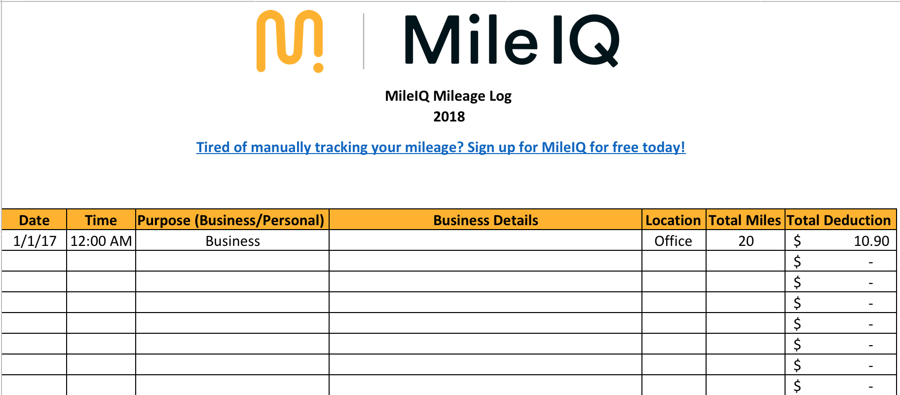 Gas Mileage Tracker Spreadsheet With Free Mileage Log