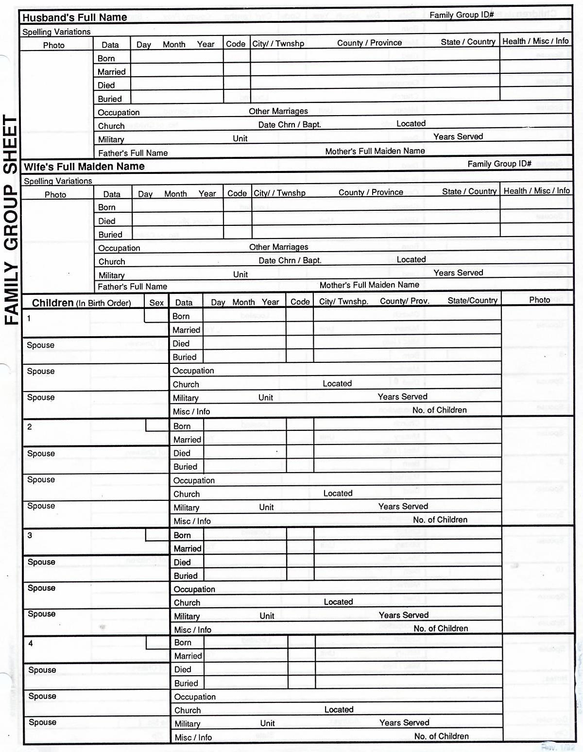 Genealogy Spreadsheet Template Spreadshee Genealogy