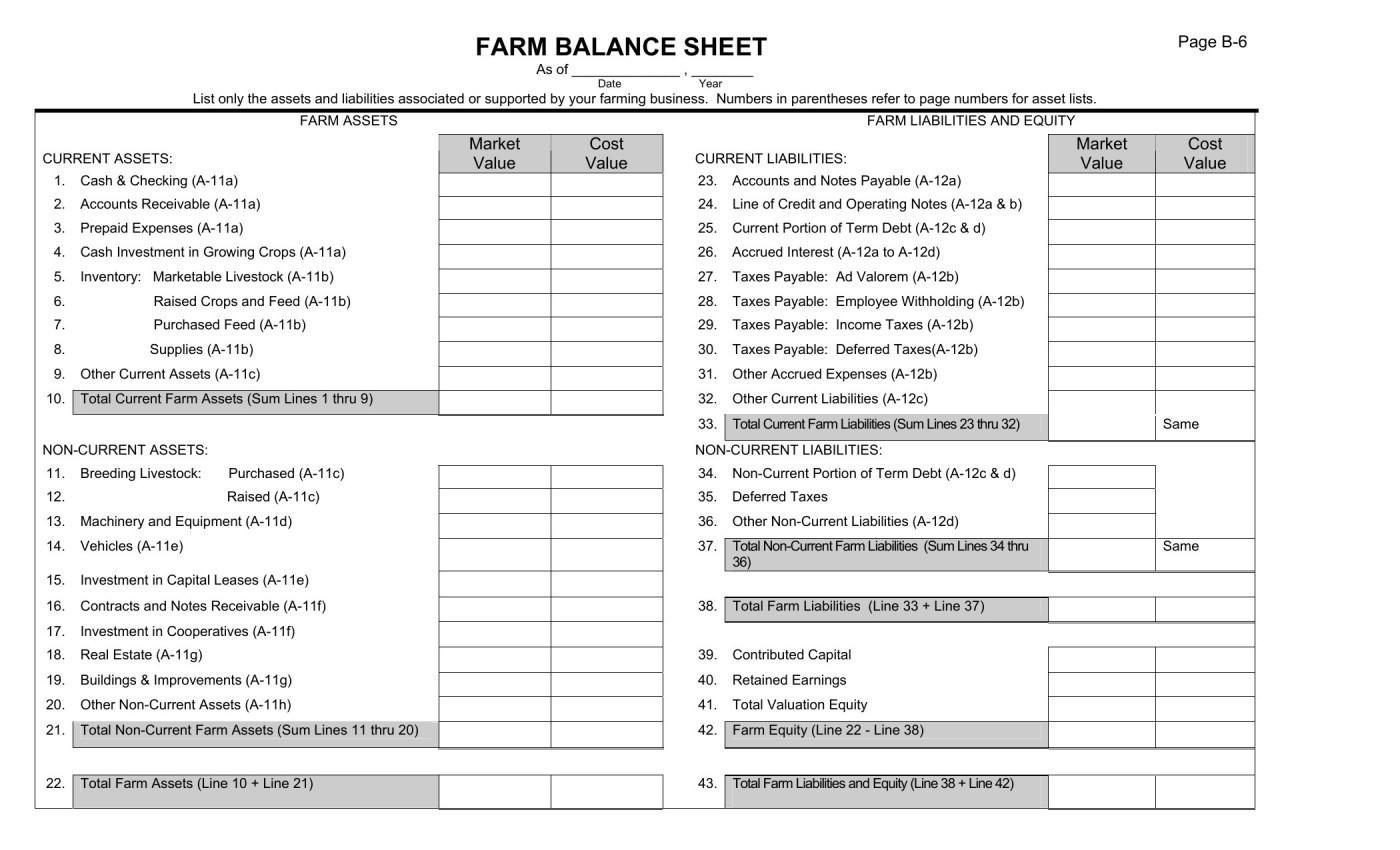 Spreadsheet Balance Sheet Template