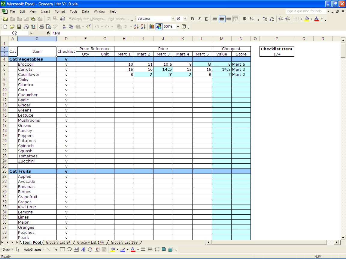 Grocery Budget Spreadsheet Template With Excel Grocery